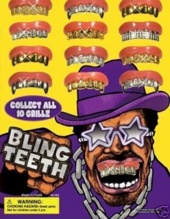 Bling Grill Grillz Collection Set of 10 Pcs Gold Silver Fake Teeth