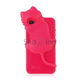 Hot Pink 3D Kiki Cat Design Silicone Gel Skin Case Cover for Apple
