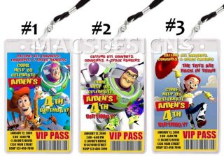 Toy Story 3 VIP Pass Birthday Party Invitations Favors