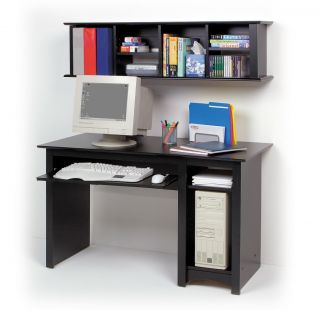 Black COMPUTER DESK + Wall Hutch Shelves Cabinet Storage PP BDD2948