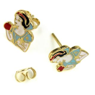 Earrings Gold Filled 18K Kids Girl Stud Snow White Princess Cartoon