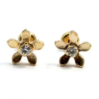 Gold 18K GF Earrings Kids Girl High Security Baby White Crystal Flower