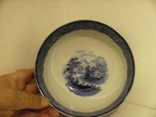 Lovely Old R Doulton Large Blue WhiteGenevaPattern Bowl