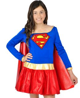 Girls Kids Teen Super Woman Girl Hero Fancy Dress Dance Costume 10 12