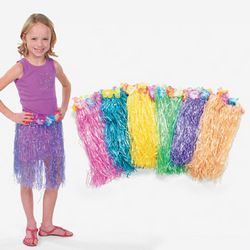 12 Kids Hawaiian Flower Hula Skirts Luau Tropical Party Supply