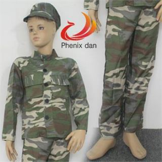 Camouflage Cosplay Kids Army Soldier Costume Party Dress S