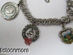 Vintage Sterling Charm Bracelet Christmas Wreath Bridesmaid Baby Boy