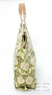 Orla Kiely Green Print Coated Canvas Leather Trim Tote Bag