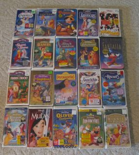 Huge 20 SEALED Walt Disney VHS Lot New Cinderella Bambi Fantasia More