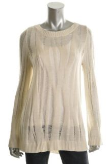 Kimberly Ovitz New Ivory Wool Ribbed Long Sleeve Pullover Sweater Top