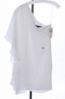 Kimberly Taylor XS 0 2 White Silk One Shoulder Fiji Drape Belt Dress $