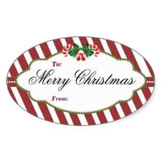 Oval Striped Christmas tree gift tag Sticker