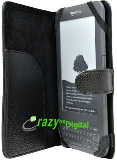 Black Leather Case Cover Screen for  Kindle 3 3G