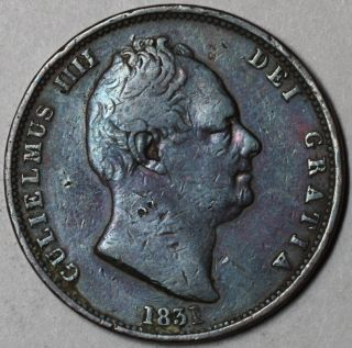 1831 RARE 1 2 Half Penny King William IV Great Britain Old US Money