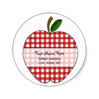 Apple Address Label   Red Gingham Round Stickers