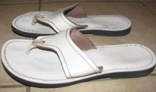 Kino Made in Key West Florida White Leather Flip Flops Sandals Womens