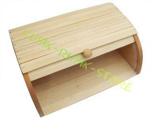 Wooden Roll Top Bread Bin Kitchen Container Storage Box
