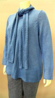Kim Rogers 2pc Plus Womens 1x Comfort Crew Neck Pullover Sweater Blue