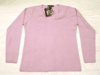 Kirkland Ladies Cashmere V Neck Sweater Medium Lilac
