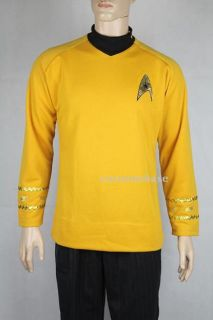 Deluxe Star Trek Captain Kirk Classic Gold Shirt Adult Mens Costume