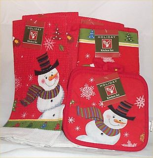 PC Kitchen Towels Hot Pads Oven Mits Red Frosty Snowman Holiday Set