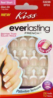 New Kiss Glue on Nail Kit Everlasting French Real Short