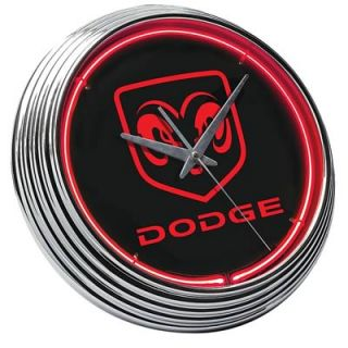 Clock Wall Mounted Red Neon Chrome Bezel Dodge RAM Logo 15 Dia 259025