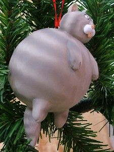 New Fat Cat Grey Tabby Kitty Kitten Feline Christmas Tree Ornament Pet