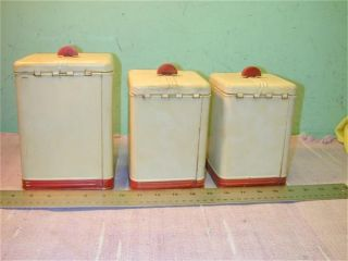 Vintage Kitchen Canister Set Tins Sugar Coffee and Tea