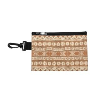 South Pacific Tribal Wood Carved Pattern Fashion Accessory Bags