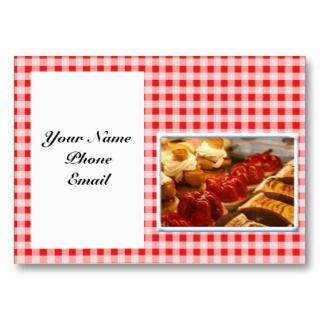 White Checked Plaid Dessert Business Card Templates