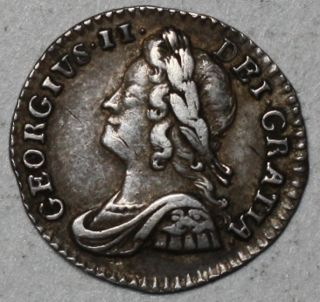 1750 King George II Silver Penny 1 Pence Nice Grade Great Britain