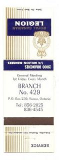 Royal Canadian Legion Matchbook Cover Wawa Ontario Branch 429