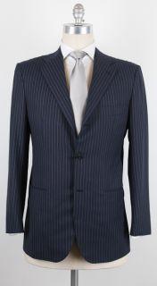 New $7200 KITON Navy Blue Suit White Striped 40 50 Regular Drop 8