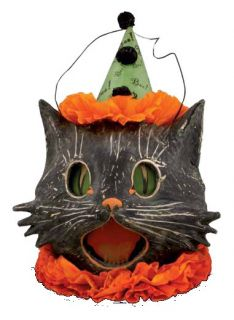 Bethany Lowe Sassy Kitty Cat Candy Container Paper Mache Halloween