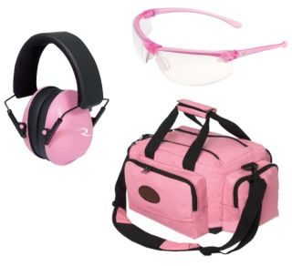 Ladys Pink Shooters Set with Pink Glasses Range Bag and Ear Muffs