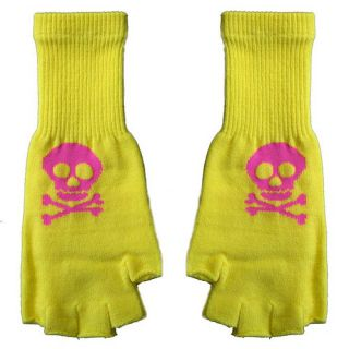Goth Punk Rock 80s Japan Hot Pink Skull Yellow Fingerless Knit Gloves