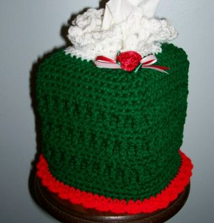 Kleenex Tissue Box Cover Crochet Christmas New Green