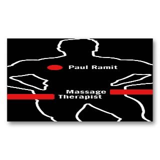 Massage Therapist Red Black Business Card