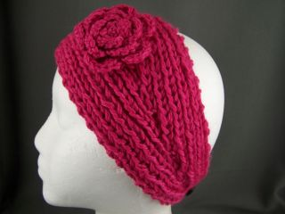 Knit Flower Ear Warmer Muff Head Wrap Hat Headband Crochet Hair Band