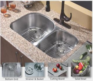 Stainless Steel Undermount Kitchen Sink (60/40) D Shape Double Bowl
