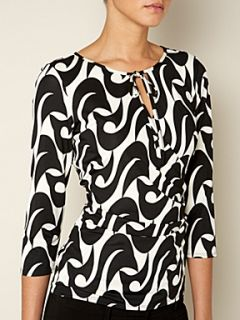 Linea Tear drop print top Black & White