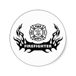 Firefighter Tattoo Round Sticker