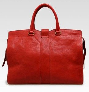 YSL Yves Saint Laurent Large Cabas Chyc in Red Leather Handbag Purse