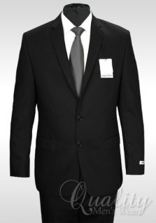 Calvin Klein Mens Suit Solid Black Modern Fit 2 Button Wool 44 Regular