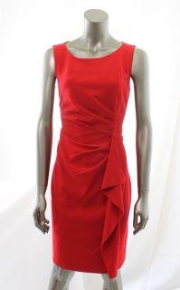 Calvin Klein New Red Womens Scoop Neck Pleated Pintuck Evening Dress
