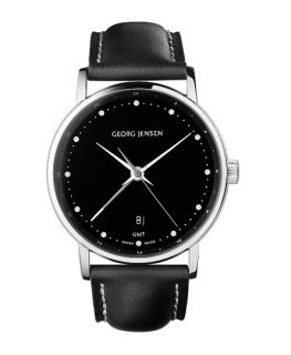 Georg Jensen Mens Dual Time Watch 519 Black Dial Koppel