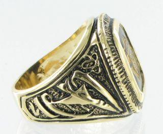 Knights of Columbus Black Glass Gold GE Men Ring Sz 11