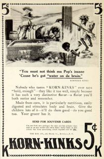 1907 Ad Korn Kinks Kornelia Black Americana Children Farm Goat Cereal