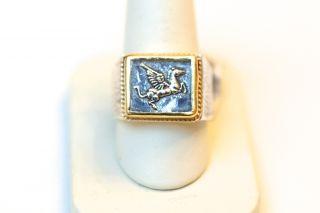 New Konstantino Mens Silver and 18K Gold Pegasus Pinky Ring. Size 7.75
